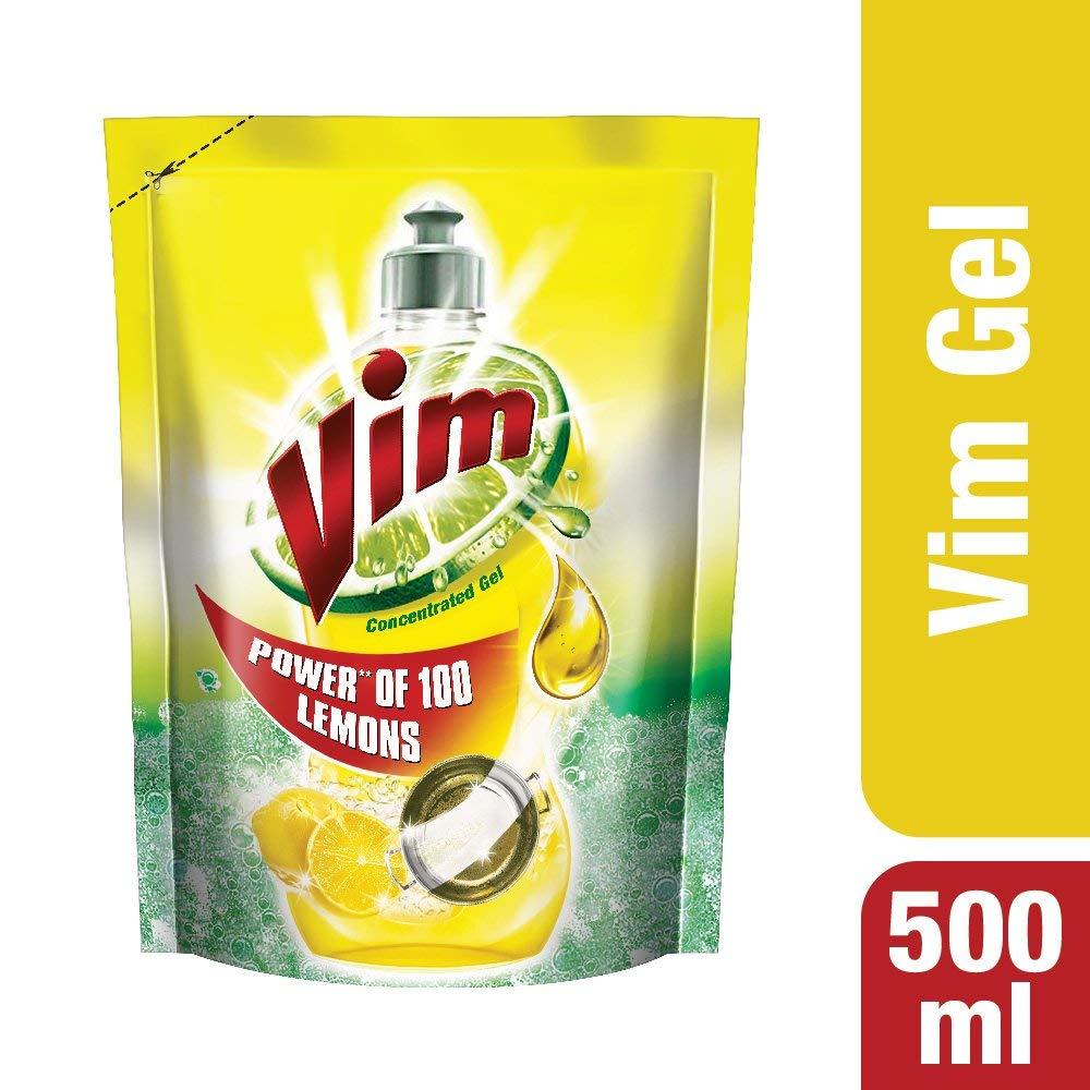 Vim Dishwash Liquid, Lemon - 500 ml