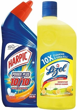 Harpic Toilet Cleaner 500 ml + Lizol Floor Cleaner 500 ml