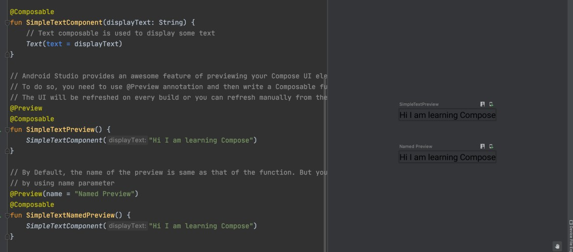 Jetpack Compose Tutorial Preview Example