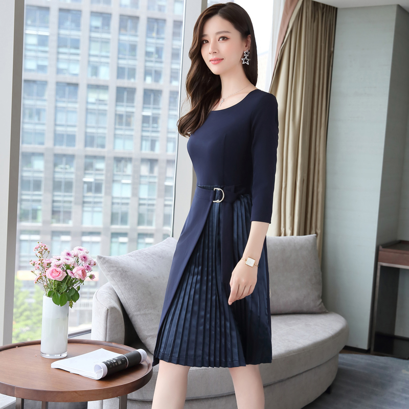 cee6217c028 Temperament fashion round neck cropped sleeves pleated stitching sleeve  elegant simple dress