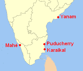 The Union Territory of Puducherry, is a group of ___ geographically isolated districts. - Four