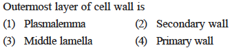 Outermost layer of cell wall is (2) Secondary wall (4) Primary wall (3) Middle lamella