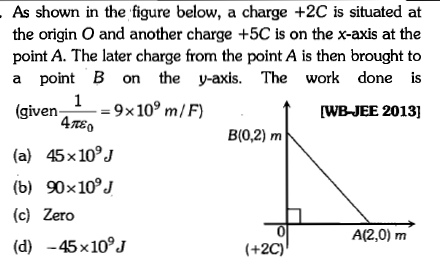 As shown in the figure below, a charge +2C is situated at the origin O and another charge +5C is on the x-axis at the point A. The later charge from the point A is then brought to a point B on the y-axis. The work done is (given-9x10 m/F t wB-JEE 2013] 4mEo B(0,2) m (a) 45x10°J (b) 90×109J (c) Zero (d) -45x10J 0 A(2,0) m +2C)