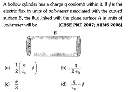 A hollow cylinder has a charge q coulomb within it  If φ is