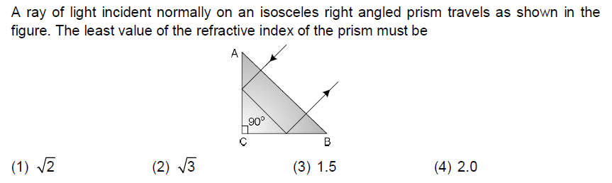 A ray of light incident normally on an isosceles right angled prism travels as shown in the figure. The least value of the refractive index of the prism must be 90° (2) 3 (4) 2.0