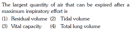 e largest quantity of air that can be expired after a maximum inspiratory effort is (1) Residual volume (2) Tidal volume (3) Vital capacity (4) Total lung volume