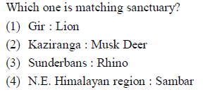 Which one is matching sanctuary? (1) Gir Lion (2) Kaziranga Musk Deer (3) Sunderbans : Rhino (4) N.E. Himalayan region : Sambar