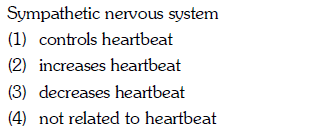 Sympathetic nervous system (1) controls heartbeat (2) increases heartbeat (3) decreases heartbeat (4) not related to heartbeat