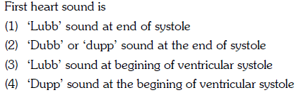 First heart sound is (1) Lubb' sound at end of systole (2) Dubb' or 'dupp sound at the end of systole (3) 'Lubb' sound at begining of ventricular systole (4) 'Dupp' sound at the begining of ventricular systole