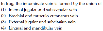 In frog, the innominate vein is formed by the union of (1) Internal jugular and subscapular vein (2) Brachial and musculo-cutaneous veirn (3) External jugular and subclavian vein (4) Lingual and mandibular vein