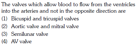 The valves which allow blood to flow from the ventricles into the arteries and not in the opposite direction are (1) Bicuspid and tricuspid valves (2) Aortic valve and mitral valve (3) Semilunar valve (4) AV valve