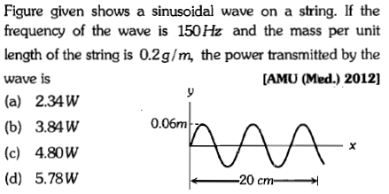 Figure given shows a sinusoidal wave on a string. If the frequency of the wave is 150Hz and the mass per unit length of the string is 0.2g/m, the power transmitted by the wave is (a) 2.34W (b) 3.84W (c) 4.80W (d) 5.78VW [AMU (Med.) 2012] 0.06m