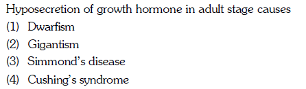 Hyposecretion of growth hormone in adult stage causes (1) Dwarfism (2) Gigantism (3) Simmond's disease (4) Cushing's syndrome