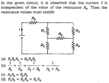 In the given circuit, it is observed that the current I i:s independent of the value of the resistance Rg. Then the resistance values must satisfy R1 R3 Re R2 R4