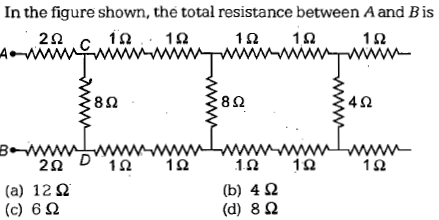 In the figure shown, the total resistance between Aand Bis 10、10 1.0 1.0 1Ω 8Ω 8Ω 4Ω 2Ω 1Ω (a) 12Ω (c) 6Ω 1.0 1.0 (b) 4 Ω (d) 8Ω
