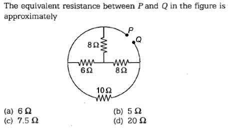 The equivalent resistance between P and Q in the figure is approximately 8Ω 6Ω 8Ω 10Ω (a) 6Ω (c) 7.5 Ω (b) 5 Ω (d) 20 Ω
