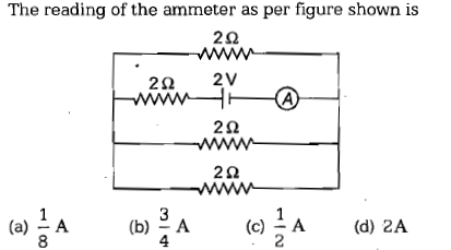 The reading of the ammeter as per figure shown is 2Ω 22 2V 2Ω 2Ω 3 (b)A 4 (c) A(d) 2A (a) A 8