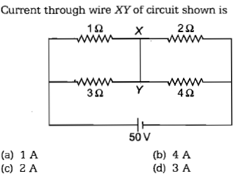Current through wire XY of circuit shown is 1Ω 2Ω 3Ω 4Ω 50V (a) 1 A (c) 2 A (b) 4 A (d) 3 A