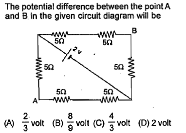 The potential difference between the point A and B in the given circuit diagram will be 5Ω 5Ω 5Ω 5Ω 5Ω 5Ω 2 (A) 3 volt (B)vol (C) 3 vt (D)2 volt 8 4