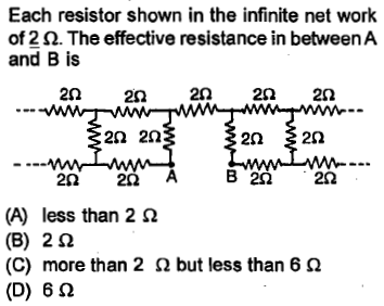 Each resistor shown in the infinite net work 012 Ω. The effective resistance in between A and B is 22 22 20 22 22 2N 2Ω 25 202 (A) less than 2 Ω (B) 2 Ω (C) more than 2 Ω but less than 6 Ω (D) 6 Ω