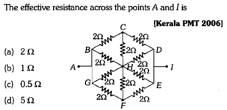 The effective resistance across the points A and I is [Kerala PMT 2006] 2Ω (a) (b) (c) (d) 2Ω 1 Ω 0.5 Ω 5Ω 2Ω 2Ω