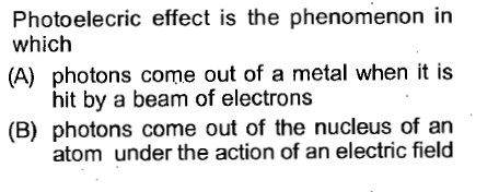 Photoelecric effect is the phenomenon in which (A) photons come out of a metal when it is hit by a beam of electrons (B) photons come out of the nucleus of an atom under the action of an electric field