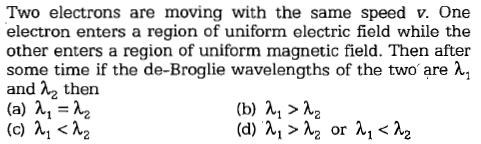 Two electrons are moving with the same speed v. One electron enters a region of uniform electric field while the other enters a region of uniform magnetic field. Then after some time if the de-Broglie wavelengths of the two are λ! and λ2 then (b) λ1> λ2