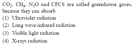 co2. CH4. N20 and CFCS are called greenhouse gases. bocaus they can absarb (1) Ultraviolet radiation (2) Long wave infrared radiation (3) Visible light radiation (4) X-rays radiation
