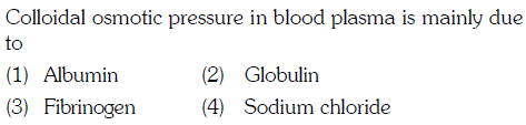 Colloidal osmotice presure in blood plasma is mainly due io (1) Albumin (3) Fibrinogen (2) Globulin (4) Sodium chloride