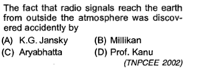 The fact that radio signals reach the earth from outside the atmosphere was discov- ered accidently by (A) K.G. Jansky (B) Millkan (C) Aryabhatta (D) Prof. Kanu (TNPCEE 2002)