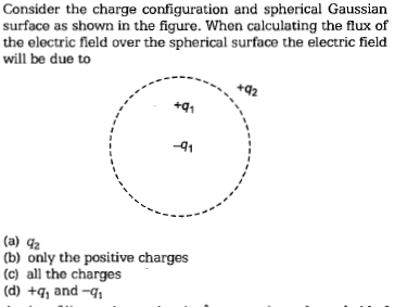 Consider the charge configuration and spherical Gaussian surface as shown in the figure. When calculating the flux of the electric field over the spherical surface the electric field will be due to +91 -q1 (a) 42 b) only the positive charges (c) all the charges (d) and-