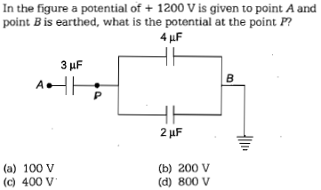 In the figure a potential of 1200 V is given to point A and point B is earthed, what is the potential at the point P 4 (a) 100 V (c) 400 V (b) 200 V (d) 800 V
