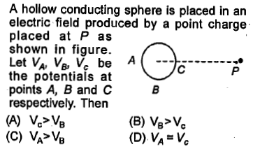 A hollow conducting sphere is placed in an electric field produced by a point charge placed at P as shown in figure. the potentials at points A, B and C respectively. Then (D) VA V