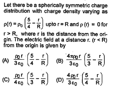 Let there be a spherically symmetric charge distribution with charge density varying as p(r) = Po(4-R) upto r = R and ρ (r)=Ofor r>R, where r is the distance from the ori- gin. The electric field at a distance r. (r <R) from the origin is given by 3ε 3E0 3 R 4E0 3 R(D)