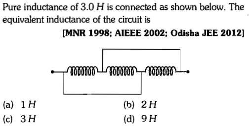 Pure inductance of 3.0 H is connected as shown below. The equivalent inductance of the circuit is MNR 1998; AIEEE 2002; Odisha JEE 2012] (a) 1H (c) 3 H (b) 2H (d) 9H