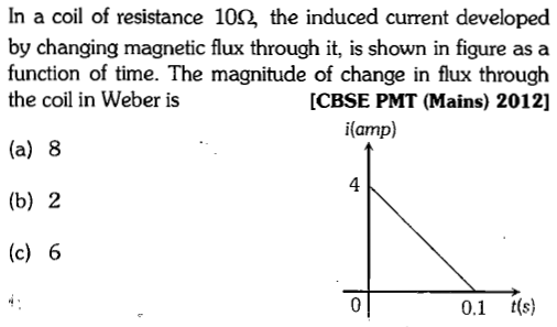 In a coil of resistance 10Ω, the induced current developed by changing magnetic flux through it, is shown in figure as a function of time. The magnitude of change in flux through the coil in Weber is CBSE PMT (Mains) 2012] i(amp) (a) 8 (b) 2 (c) 6 4 0.1 t(s)