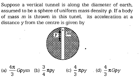Suppose a vertical tunnel is along the diameter of earth, assumed to be a sphere of uniform mass density ρ. If a body of mass m is thrown in this tunel, its acceleration at a distance y from the centre is given by 3 4 4 3 3