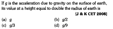 If g is the acceleration due to gravity on the surface of earth, its value at a height equal to double the radius of earth is J & K CET 2008] (a) g (c) g/3 (b) g/2 (d) g/9
