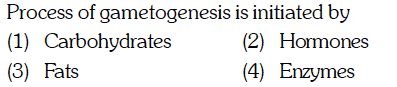 Process of gametogenesis is initiated by (1) (arl)(hyhai (3) Fats (4) Enzymes