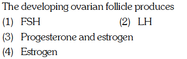 The developing ovarian follicle produces (1) FSH )Progesterone and estrogen (4) Estrogen (2) III