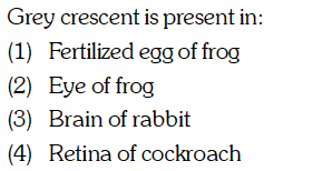 Grey crescent is present in: (1) Fertilized egg of frog (2) Eye of frog (3) Brain of rabbit (4) Retina of cockroach