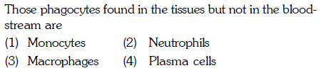 Those phagocytes found in the tissues but not in the blood stream are (1) Monocytes (2) Neutrophils (3) Macrophages 4) Plasma cells
