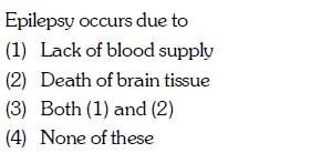 Epilepsy occurs due to (1) Lack of blood supply (2) Death of brain tissue (3) Both (1) and (2) (4) None of these