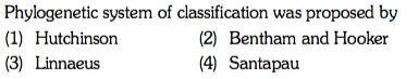 Phylogenetic system of classification was proposed by (1) Hutchinson (3) Linnaeus (2) Bentham and Hooker (4) Santapau