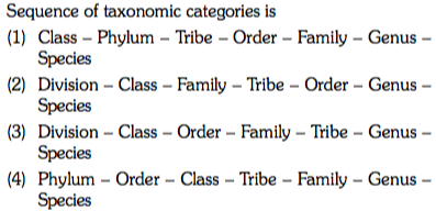 Sequence of taxonomic categories is (1) Class - Phylum Tribe - Order - Family - Genus (2) Division Class - Family - Tribe Order - Genus - (3) Division Class -Order - Family Tribe - Genus - (4) Phylum - Order - Class - Tribe - Family - Genus Species Species Species Species