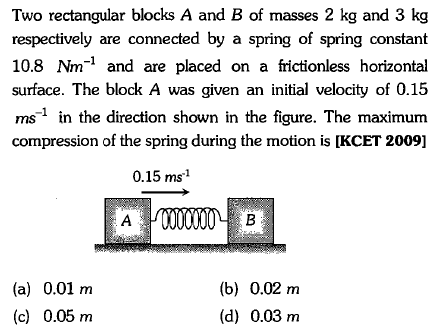 Two rectangular blocks A and B of masses 2 kg and 3 kg respectively are connected by a spring of spring constant 10.8 Nm-1 and are placed on a frictionless horizontal surface. The block A was given an initial velocity of 0.15 ms1 in the direction shown in the figure. The maximunm compression of the spring during the motion is [KCET 2009] 0.15 ms1 (a) 0.01 m (c) 0.05 m (b) 0.02 m (d) 0.03 m