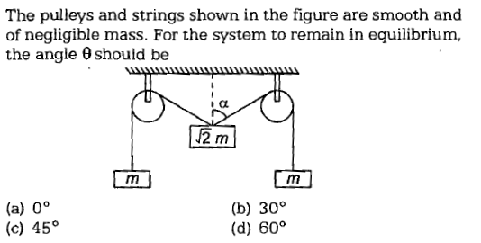 The pulleys and strings shown in the figure are smooth and of negligible mass. For the system to remain in equilibrium, the angle θ should be 2 m (a) 0° (c) 45° (b) 30° (d) 60°