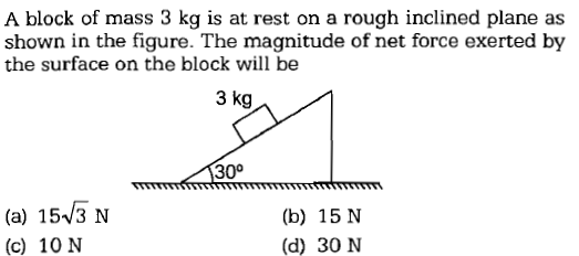 A block of mass 3 kg is at rest on a rough inclined plane as shown in the figure. The magnitude of net force exerted by the surface on the block will be 3 kg 30° (a) 15V3 N (c) 10 N (b) 15 N (d) 30 N