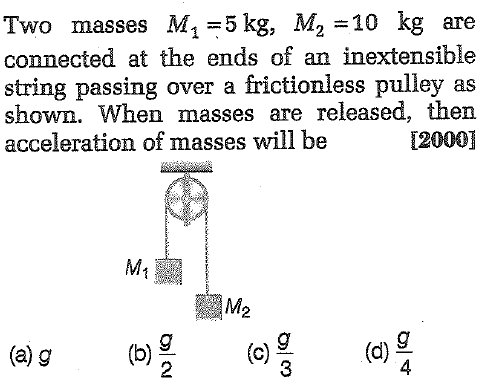 Two masses M, 5 kg, M2=10 kg are connected at the ends of an inextensible string passing over a frictionless pulley as shown. When masses are released, then acceleration of masses will be 12000] g(d) 3 2 4