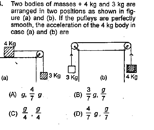 I. Two bodies of masses + 4 kg and 3 kg are arranged in two positions as shown in fig- ure (a) and (b). If the pulleys are perfectly smooth, the acceleration of the 4 kg body in case (a) and (b) are 4 K 3 Kg 3 Kg(D1 4 Kg 4